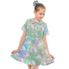 Colorful Iridescent Clouds Kids  Short Sleeve Shirt Dress by tarastyle