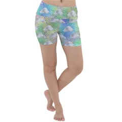 Colorful Iridescent Clouds Lightweight Velour Yoga Shorts by tarastyle
