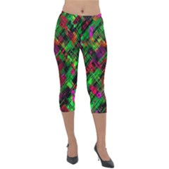 Abstract Glitch Pattern Lightweight Velour Capri Leggings  by tarastyle