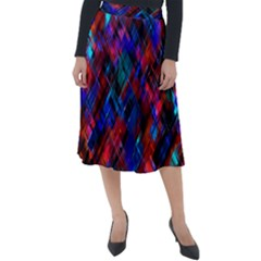 Abstract Glitch Pattern Classic Velour Midi Skirt  by tarastyle