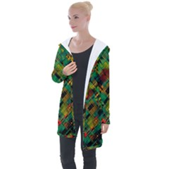 Abstract Glitch Pattern Longline Hooded Cardigan
