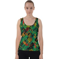 Abstract Glitch Pattern Velvet Tank Top