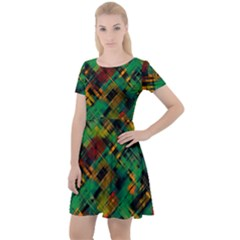 Abstract Glitch Pattern Cap Sleeve Velour Dress