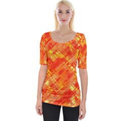 Abstract Glitch Pattern Wide Neckline Tee by tarastyle