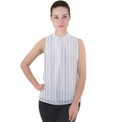 Bright Linear Abstract Print Mock Neck Chiffon Sleeveless Top by dflcprintsclothing