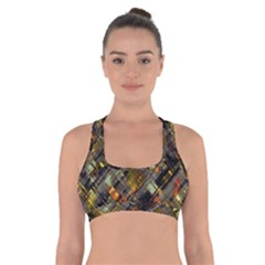 Abstract Glitch Pattern Cross Back Sports Bra by tarastyle