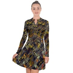 Abstract Glitch Pattern Long Sleeve Panel Dress by tarastyle