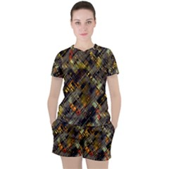Abstract Glitch Pattern Women s Tee And Shorts Set by tarastyle