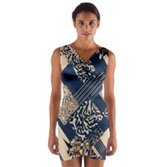 Abstract Glitch Pattern Wrap Front Bodycon Dress by tarastyle