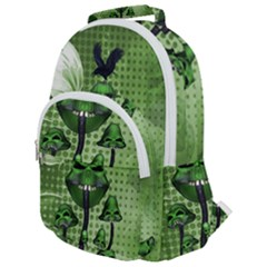 Funny Mushroom Skulls With Crow And Butterflies Rounded Multi Pocket Backpack