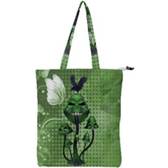 Funny Mushroom Skulls With Crow And Butterflies Double Zip Up Tote Bag