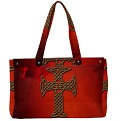 Wonderful Celtic Cross On Vintage Background Canvas Work Bag by FantasyWorld7