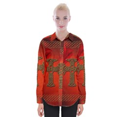 Wonderful Celtic Cross On Vintage Background Womens Long Sleeve Shirt by FantasyWorld7