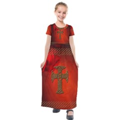 Wonderful Celtic Cross On Vintage Background Kids  Short Sleeve Maxi Dress by FantasyWorld7