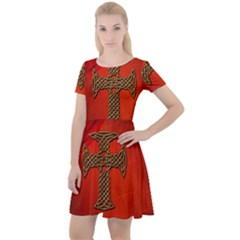 Wonderful Celtic Cross On Vintage Background Cap Sleeve Velour Dress