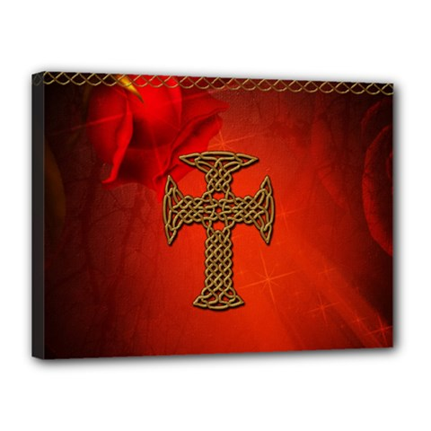 Wonderful Celtic Cross On Vintage Background Canvas 16  X 12  (stretched)