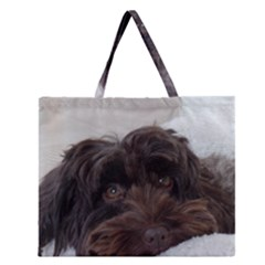 Laying In Dog Bed Zipper Large Tote Bag