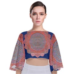 Boho Bliss Peach Metallic Mandala Tie Back Butterfly Sleeve Chiffon Top