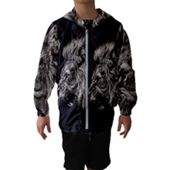 Angry Male Lion Hooded Windbreaker (kids)