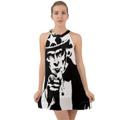 Uncle Sam Government Symbol America Halter Tie Back Chiffon Dress by Bejoart