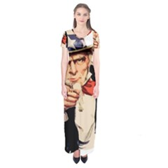 America Uncle Sam Impersonation Short Sleeve Maxi Dress