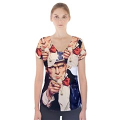 America Uncle Sam Impersonation Short Sleeve Front Detail Top