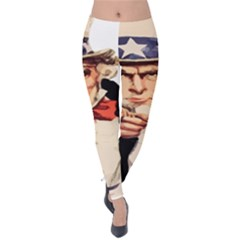 America Uncle Sam Impersonation Velvet Leggings