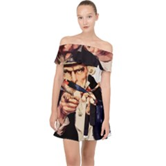America Uncle Sam Impersonation Off Shoulder Chiffon Dress