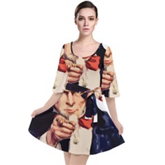 America Uncle Sam Impersonation Velour Kimono Dress