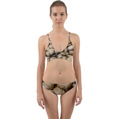 Shellfishs Photo Print Pattern Wrap Around Bikini Set