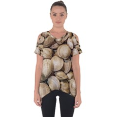 Shellfishs Photo Print Pattern Cut Out Side Drop Tee