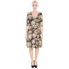 Shellfishs Photo Print Pattern Wrap Up Cocktail Dress