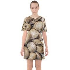 Shellfishs Photo Print Pattern Sixties Short Sleeve Mini Dress by dflcprintsclothing