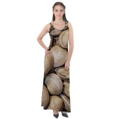 Shellfishs Photo Print Pattern Sleeveless Velour Maxi Dress