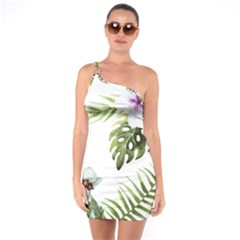 Tropical Flowers One Soulder Bodycon Dress