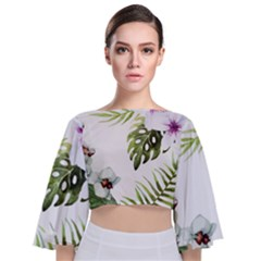Tropical Flowers Tie Back Butterfly Sleeve Chiffon Top by goljakoff