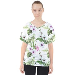 Tropical Flowers Pattern V Neck Dolman Drape Top by goljakoff