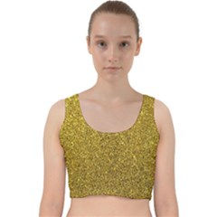 Gold Sparkles Velvet Racer Back Crop Top