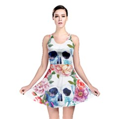Watercolor Flowers And Skull Reversible Skater Dress by goljakoff