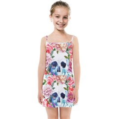 Watercolor Flowers And Skull Kids  Summer Sun Dress by goljakoff