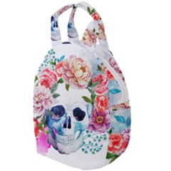 Watercolor Flowers And Skull Travel Backpacks