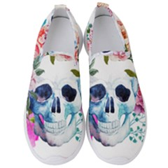 Watercolor Flowers And Skull Men s Slip On Sneakers by goljakoff
