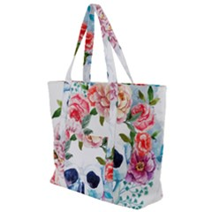 Watercolor Flowers And Skull Zip Up Canvas Bag
