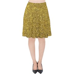 Gold Sparkles Velvet High Waist Skirt