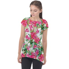 Red Flowers Pattern Cap Sleeve High Low Top by goljakoff