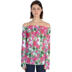 Red Flowers Pattern Off Shoulder Long Sleeve Top by goljakoff