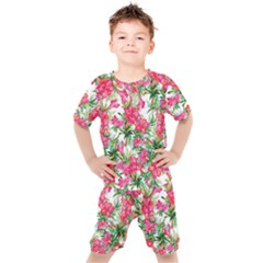 Red Flowers Pattern Kids  Tee And Shorts Set by goljakoff