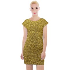 Gold Sparkles Cap Sleeve Bodycon Dress by retrotoomoderndesigns
