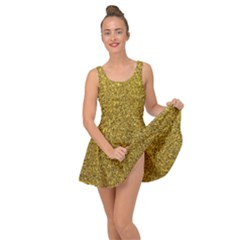 Gold Sparkles Inside Out Casual Dress by retrotoomoderndesigns
