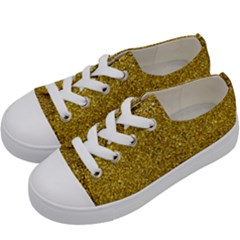 Gold Sparkles Kids  Low Top Canvas Sneakers by retrotoomoderndesigns